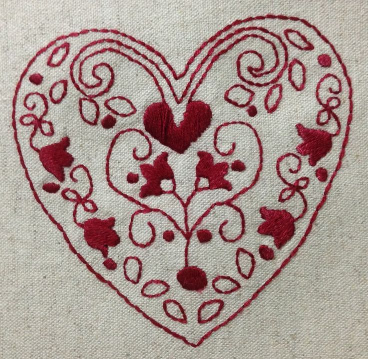 Red work heart 2