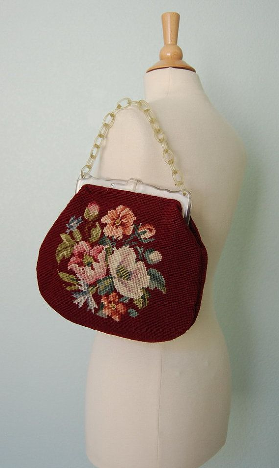1950s needlepoint handbag
