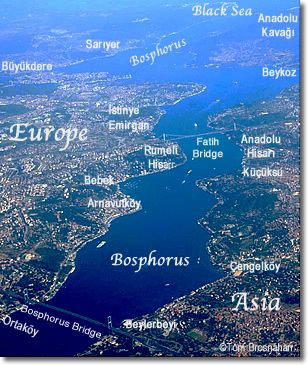 Map of the Bosphorus, Istanbul, Turkey