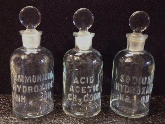 LABORATORY CHEMISTRY Reagent Three BOTTLE Set School Lab Chemist Apothecary Drug Store Steam Punk Science Aid Poison on Etsy, $42.00