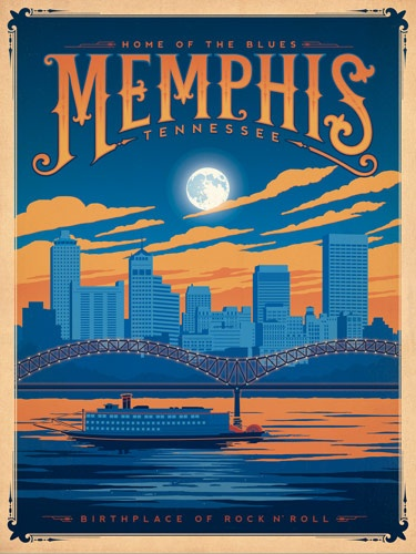 Designer Joel Anderson takes a nostalgic and colorful look at America with a new poster series, featuring an assortment of American cities (via The Memphis Egotist)