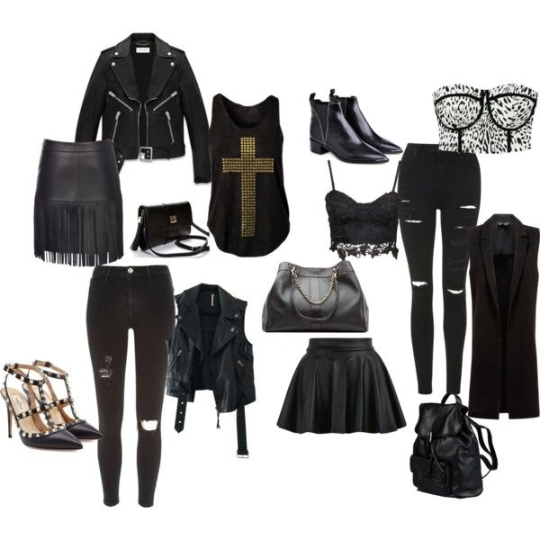 Rock by blondavapotvora on Polyvore featuring Yves Saint Laurent, Free People, Scoop, Topshop, River Island, Valentino, Acne Studios, See by Chloé and Doucal's