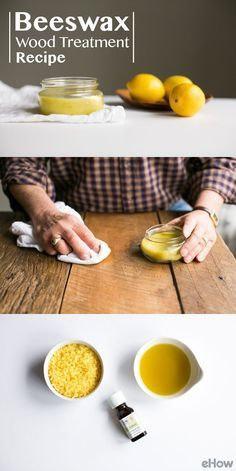 Save money on an expensive wood polish and make your own with just three simple ingredients. Olive oil adds moisture to prevent wood from drying out and cracking, beeswax helps seal the wood and protect the surface after cleaning, and lemon gives it that clean, fresh scent. http://www.ehow.com/about_6592467_beeswax-wood-treatment.html?utm_source=pinterest.com&utm_medium=referral&utm_content=freestyle&utm_campaign=fanpage
