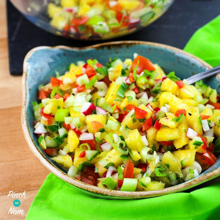 This Syn Free Pineapple Salsa is incredibly easy to prepare, just chop everything up, chuck it all together, season and hey presto, Pineapple Salsa! The pineapple adds sweetness and acidity to this salsa, and you can add as much or as little chilli as you want depending on how spicy you like it to make…
