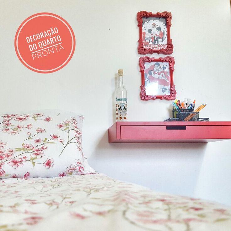 Nova decoração do meu quarto.  Vermelho |  Branco |  Preto