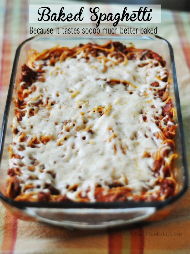 Baked Spaghetti is the perfect dish for the family. It's super easy and is sure to be a hit every time! #recipe