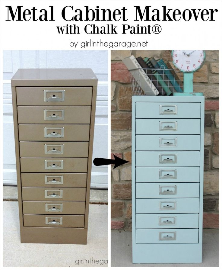 Painted Metal Cabinet Makeover with Chalk Paint - Girl in the Garage