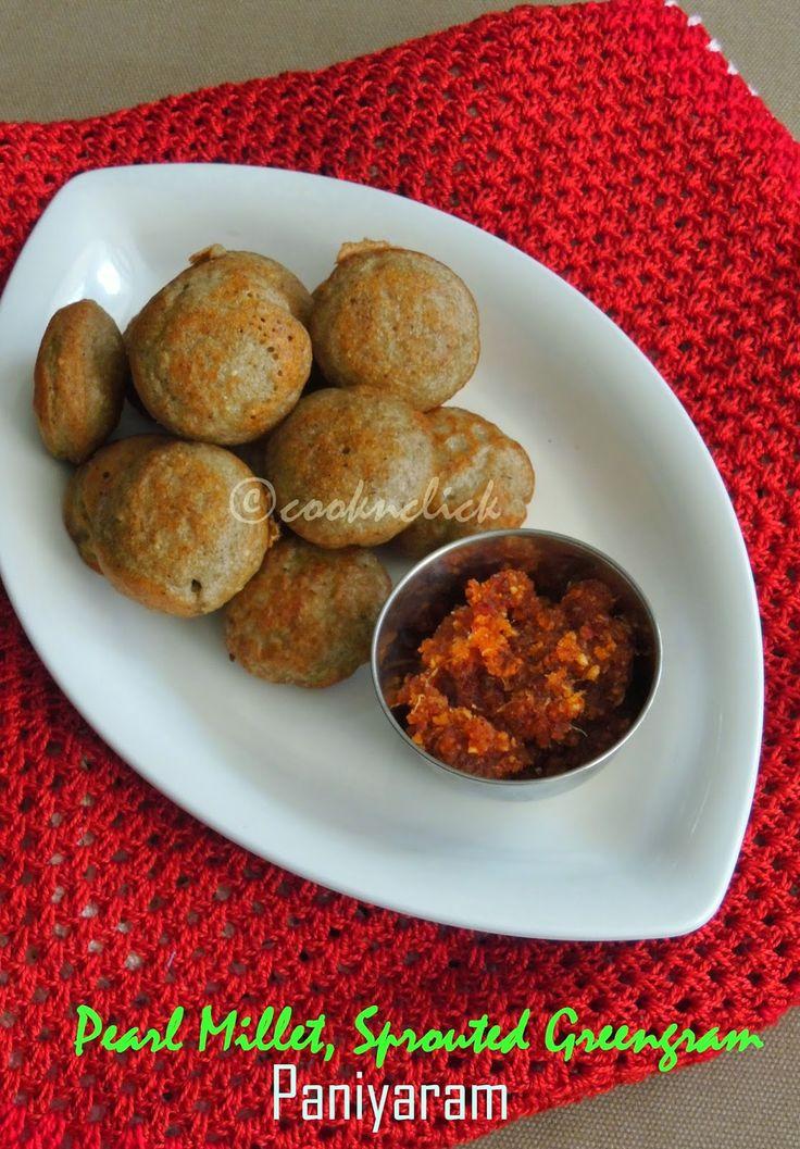 Pearl millet, Sprouted Greengram Paniyaram