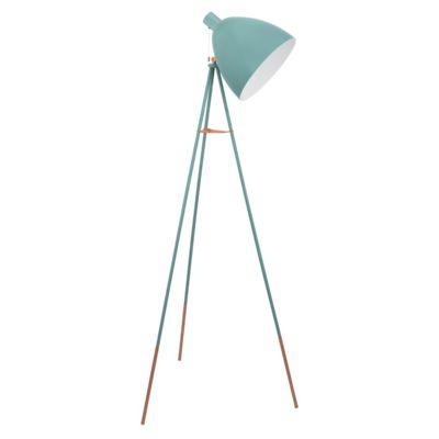 Stojąca LAMPA podłogowa DUNDEE 49342 Eglo metalowa OPRAWA sztalugowa na trójnogu pastelowy turkusowy