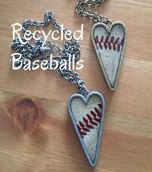 The Creative Sweet Peas| Create-Learn-Share | Recycled Baseballs.   We made these beautiful baseball pendants using old baseballs.