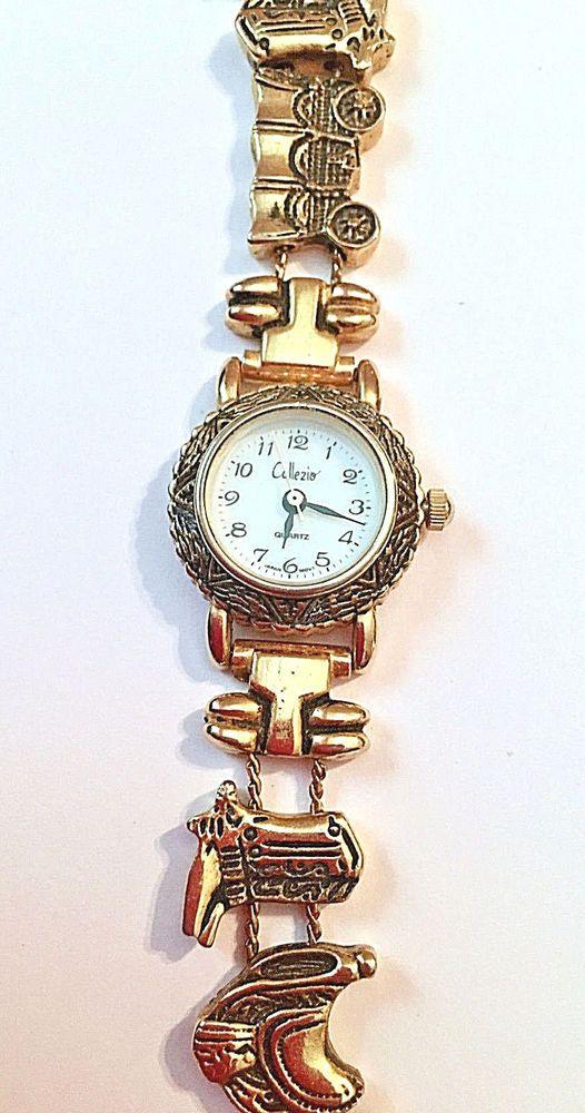 NEW Collezio Gold WESTERN Horse, Saddle, Boots Bracelet Dress Watch   | eBay