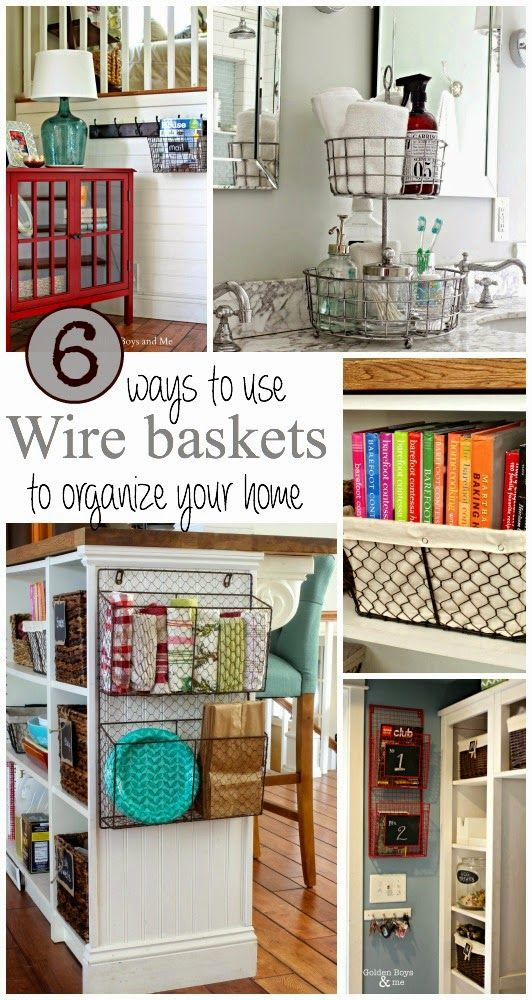 Love the farmhouse look? Ideas for using wire baskets for home storage solutions.  www.goldenboysandme.com