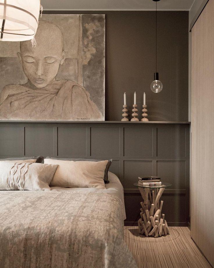 Taulut, tekstuurit ja muut kauniit yksityiskohdat tuovat makuuhuoneen tunnelmaan lämpöä ja kodikkuutta