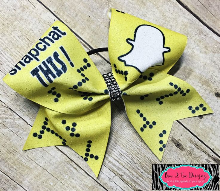 Snap chat cheer bow, yellow snapchat glitter bow by Bow2ToeDesignz on Etsy https://www.etsy.com/listing/480253639/snap-chat-cheer-bow-yellow-snapchat