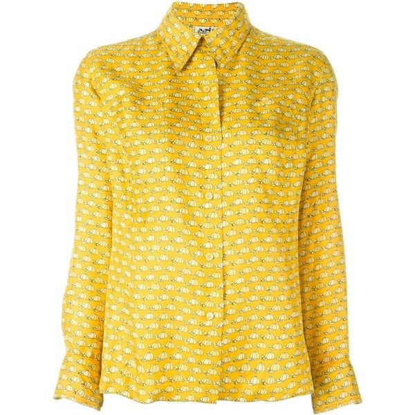 Hermès Vintage Cap Printed Blouse ($1,194) ❤ liked on Polyvore featuring tops, blouses, yellow blouse, collar top, silk top, long sleeve silk blouse and long sleeve tops
