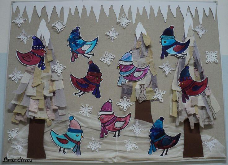 Zimní ptáčci - stromy z trhaných hedvábných papírů (od květin), ptáčci fixem a anilinkami