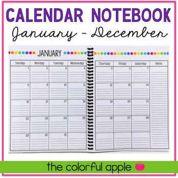 The Calendar Notebook: January - December: This is a monthly calendar that runs from January 2018 – December 2018 (free updates every year!). At the end, there is a notes page, which can be printed multiple times to create the notebook portion of the calendar. Includes lined calendar and notebook pages, as well as blank ones. Choose the one that works best for you or mix and match!