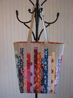 Scrappy Linen Tote - Tutorial   by Michelle @ i like orange.