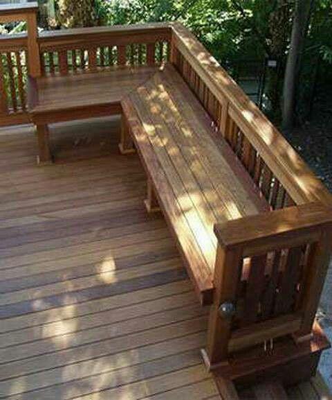 22 best bancas de madera images on pinterest wood - Ideas para patios ...