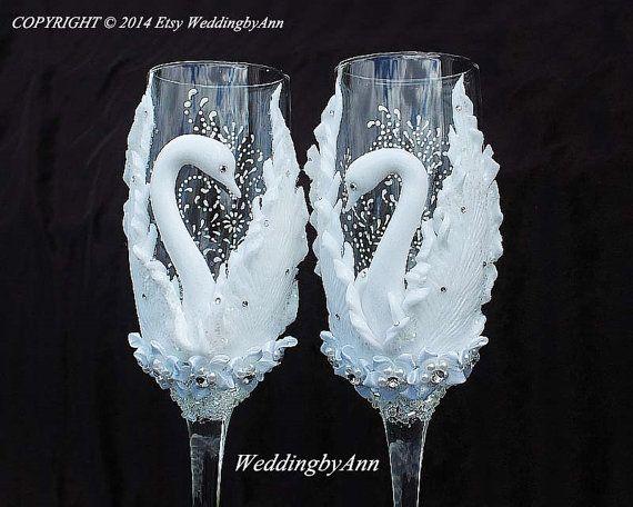 Wedding Champagne Glasses Wedding Champagne Flutes by WeddingbyAnn