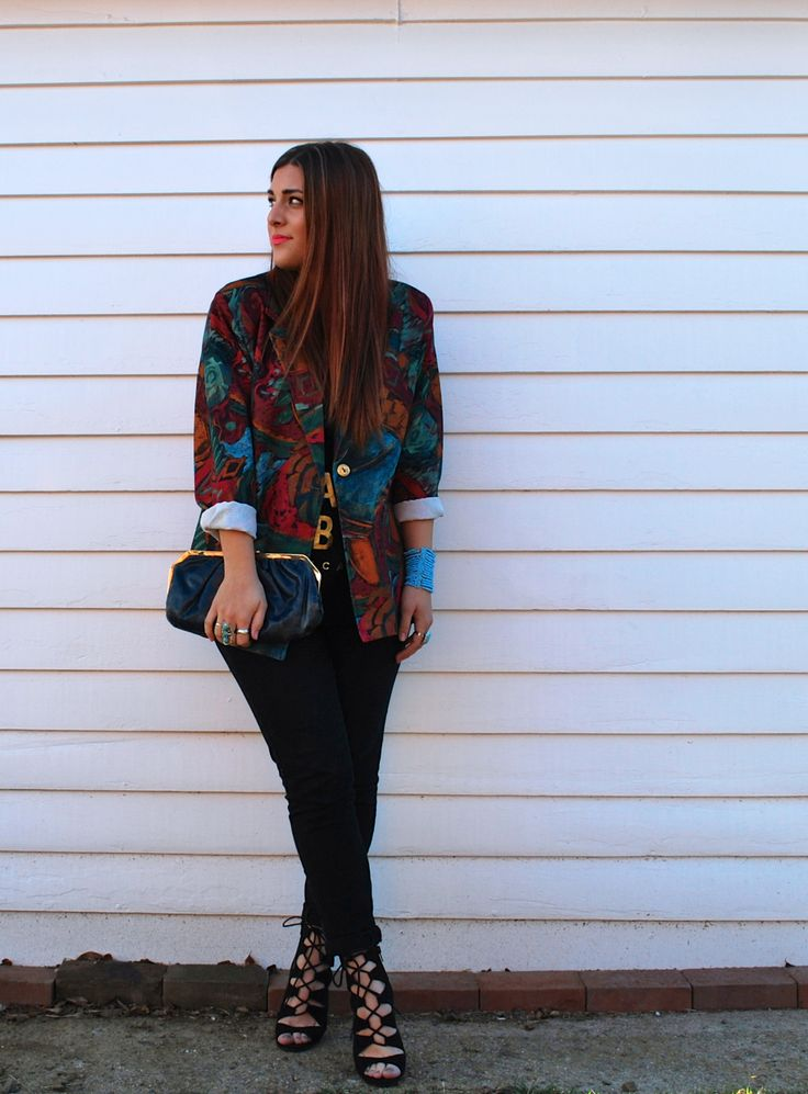 {Simply Audree Kate- VINTAGE BLAZER} Thrifted Blazer and Clutch, Forever21 Jeans, Chinese Laundry Heels, Amazon Rings