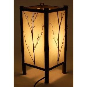 Square Natural Autumn Branch Silhouette Shoji Lantern Design with Organic Twig Motif- Decorative Light / Ambiance Light / Asian Style Table Lamp / Night Light- Medium
