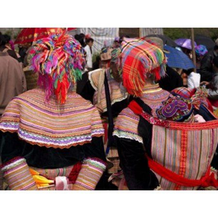Rear view of two Flower Hmong women at a market Bac Ha Sunday Market Lao Cai Province Vietnam Canvas Art - Panoramic Images (36 x 28)