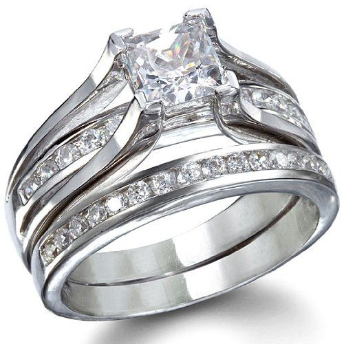 Princess Cut Wedding Ring Set (7) - This set contains an cz engagement ring and matching eternitity band. The mesmerizing princess cut engagement ring is the perfect accessory for any classically beautiful woman. On top of the ring sits a 1.25 carot