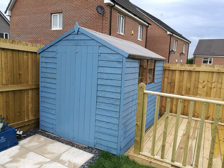 """This is a gorgeous colour that Rebecca has painted her shed!  """"Walton's Sheds are so competitive in price. The quality is amazing, so fast to put together, simple instructions, easy to do. Our delivery person rung us when they were 20 minutes away and was so polite and helpful moving the parts into the garden. When I had a query the customer services team were very fast to respond and very helpful. All in all a brilliant service and product! Would 100% recommend."""""""