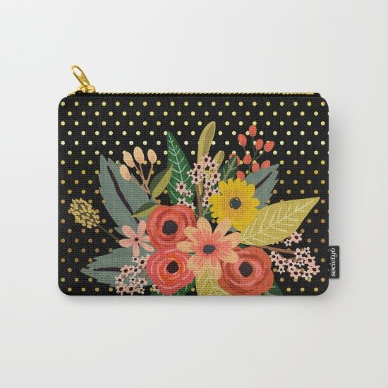 #flowers #floral #carryallpouch #bouquet #polkadots #gold Available in different #giftideas products. Check more at society6.com/julianarw