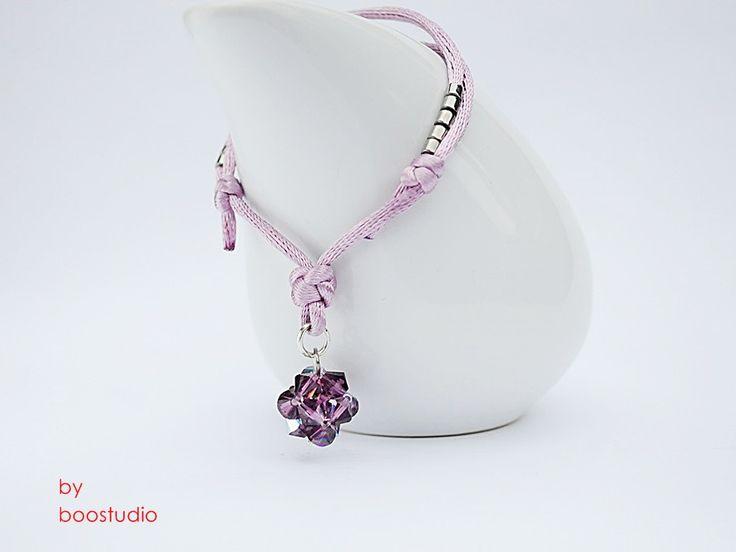 Satin cord bracelet - bransoletka z satyny w kolorze pudrowego różu ozdobiona kulką z kryształków Swarovskiego - BICONE - CRYSTAL AMETHYST. Dodatkową ozdobę stanowią japońskie koraliki MIYUKI. www.facebook.com/BooStudioHandMade