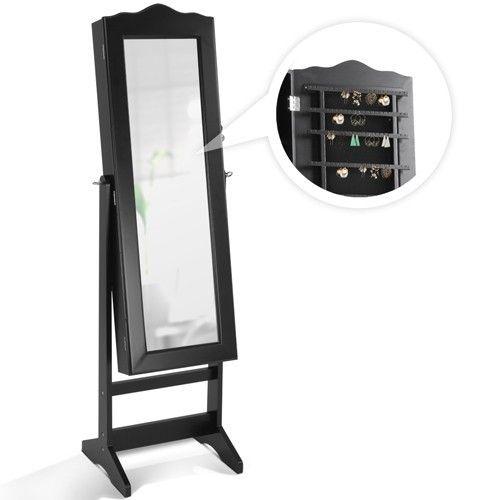 Staande sieradenkast met spiegel - Functioneel en stijlvolle staande sieradenkast en spiegel in 1 - Zwenbaar - Must have voor iedere slaapkamer