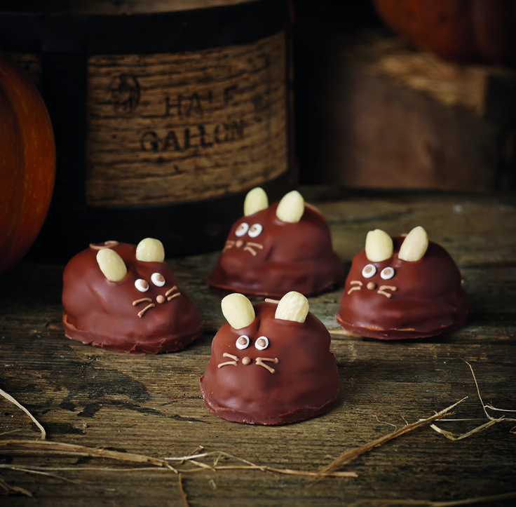 These delightful characters have a chocolate sponge base topped with rich, creamy ganache. They are then enrobed in Swiss milk chocolate and have almond ears.