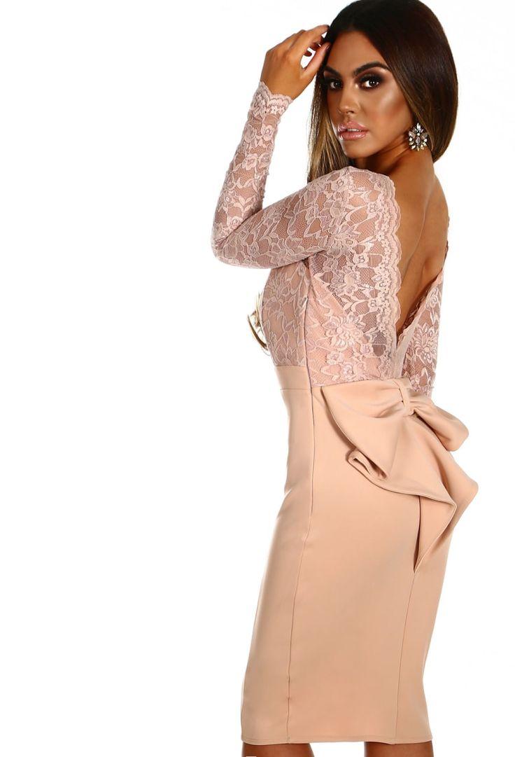 Malibu Miss Nude Lace Bow Back Long Sleeve Midi Dress | Pink Boutique