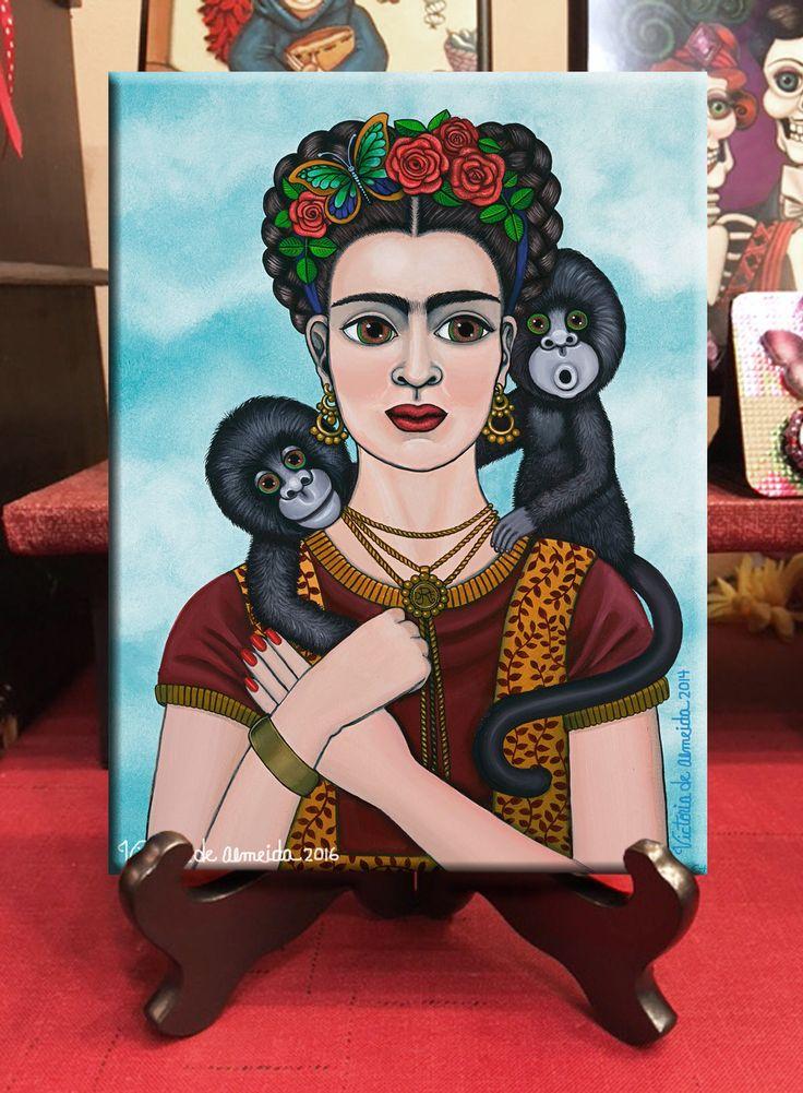 $33 Ready to hang 6x8 wood print with Code VIP5OFF  Frida Kalo Art by VictoriaDeAlmeida on Etsy https://www.etsy.com/listing/538200361/frida-kahlo-art-print-colorful-frida