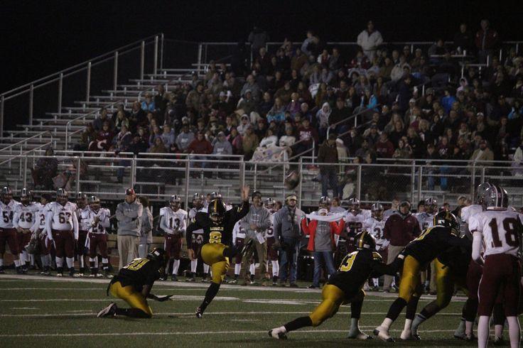 Mason kicking a field goal against Boaz! Field goal
