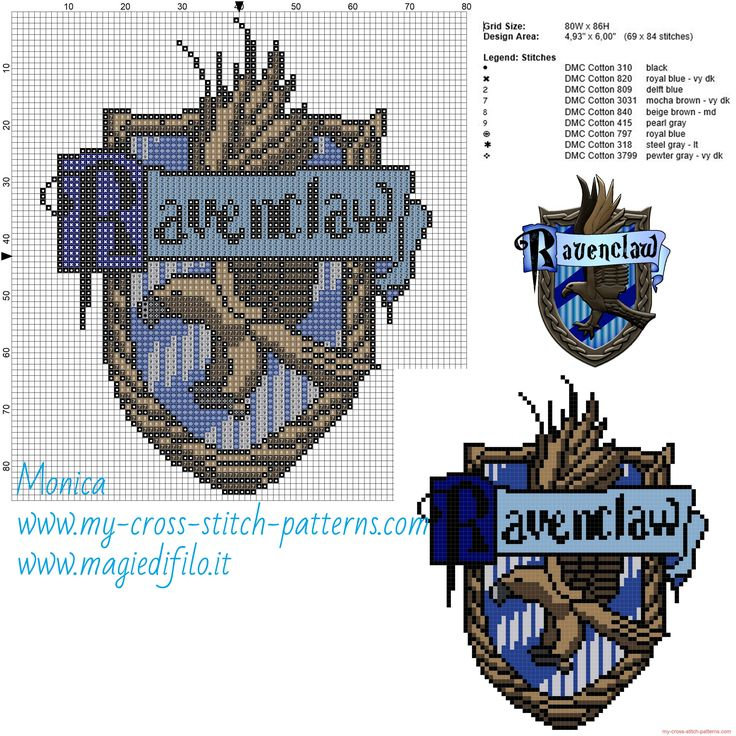 Ravenclaw cross stitch pattern