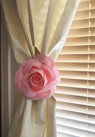 One Rose Flower Curtain Tie Backs Curtain Tiebacks Curtain Holdback -Drapery Tieback-Baby Nursery Decor-Light Pink Decor