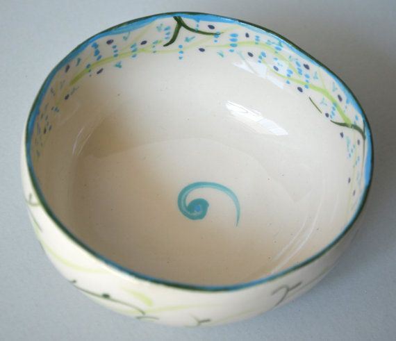 Offwhite stoneware bowl with wisteria design by by fourblueowls, €20.00