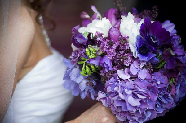 Purple White Bouquet Country Club Hydrangea Ranunculus Sweet Pea Tulip Wedding Flowers Photos  Pictures - WeddingWire.com