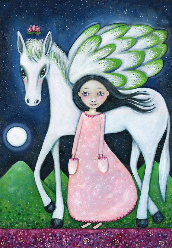 Cavallo alato parete stampa artistica Pegasus Wall Art Decor Girl e Peagus Art regalo per ragazze camera volanti cavallo bianco parete Decor Childrens Wall Art