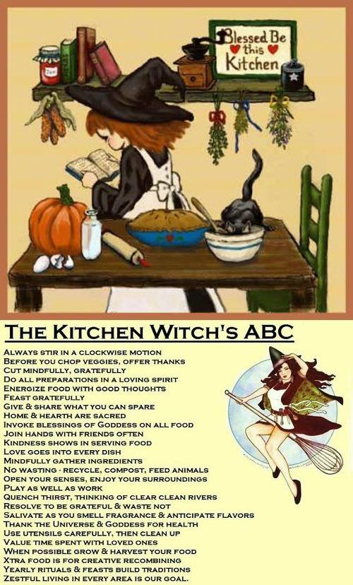 "My mother used to keep a little stuffed witch doll in the kitchen with a little poem attached to it.  Recently, I found a lovely copy of a Kitchen Witch's ABC's  - it's a little ""witchy"", but I agree with the basics here.   I'd like to get a small Kitchen Witch doll to go along with it. Just to remind me of my mother."