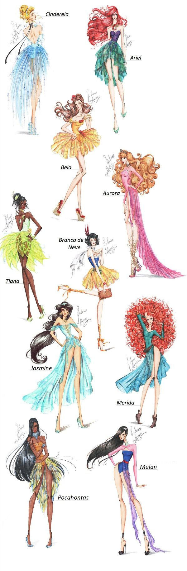 If the Disney Princesses were modern day models. Omg these sketches are so awesome!