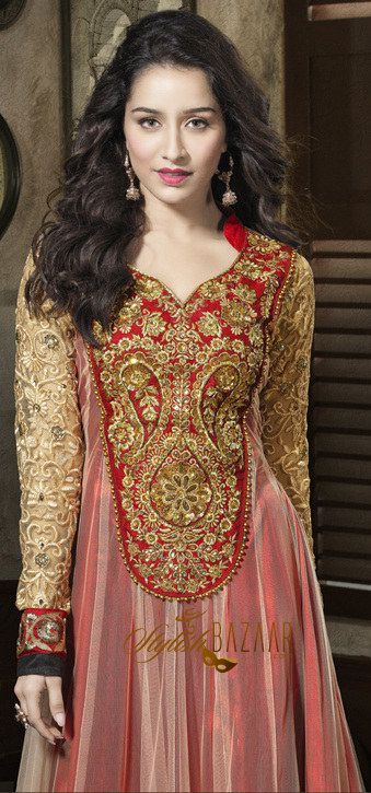 The best combination of colours and artistic touch in work has added stars to Indian celebrity Shraddha Kapoor's personality shaded pink along with off-white colour gives different type of look to latest stylish designer floor length long Anarkali dress. Appropriate, selected & choosy Embroidery work & patch work on neck & long-sleeves Lower part of suit is also impressive because of smartly crafted multi coloured laces, ribbons, Silk and zari work gives more decency and classy touch.