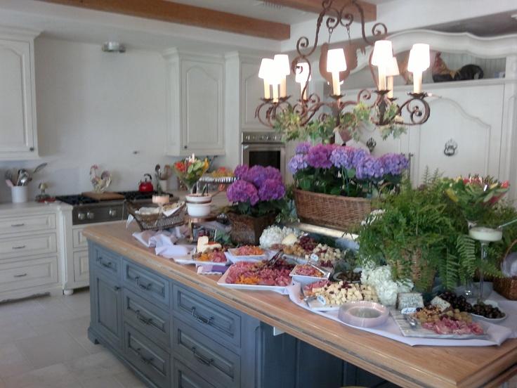Kitchen Island Cheese Charcuterie And Hydrangeas