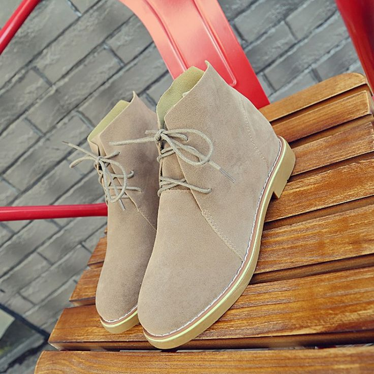 Brand Fashion Suede Leather Ankle Boots For Women Lace-Up Rubber Shoes Women Leather Flat Shoes Martin Boots Ladies Oxfords