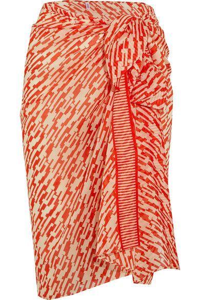Eres - Equator Printed Cotton Pareo - Bright orange - One size