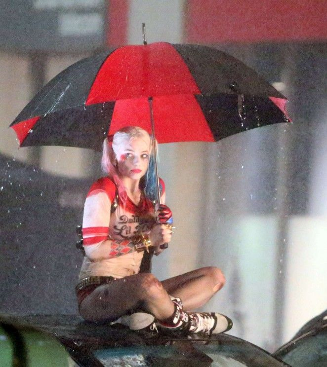 Margot Robbie on the set of 'Suicide Squad' in Toronto