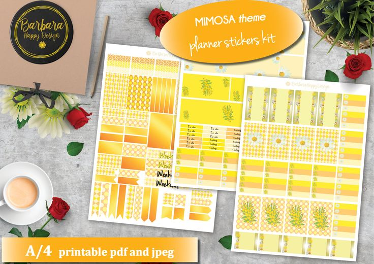 Mimosa Planner Sticker Kit - Decorations flowers - Stickers Planner - Yellow - Women - Gold di BarbaraHappyDesign su Etsy