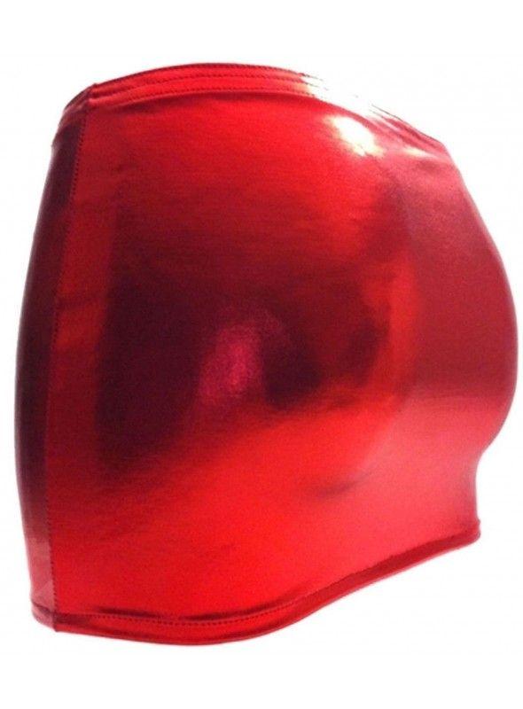 44-52 Roter Lederrock mit Doppelzipper gefüttert Gr
